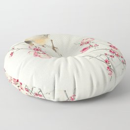 Songbirds on Blossom Branch Floor Pillow