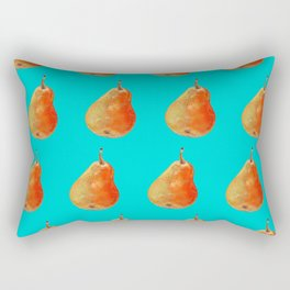 Ripe pear on color background drawing by pastel Rectangular Pillow