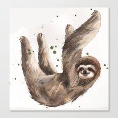Sloth Print, 3 toed sloth, cute sloth art Canvas Print