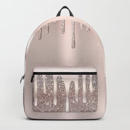 Icy Pink Rose Gold Diamond Dust Glitter Drips Backpack