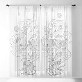black and white zen cup Sheer Curtain