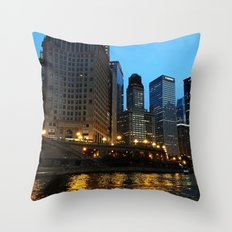 Chicago River and Buildings at Dusk Color Photo Throw Pillow