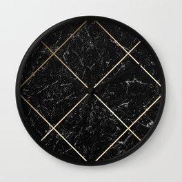 Gold & Black Marble 01 Wall Clock