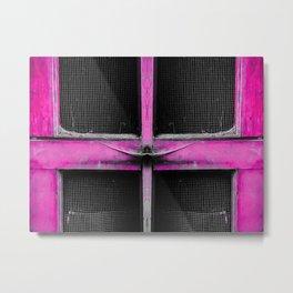 old pink wooden door abstract background Metal Print