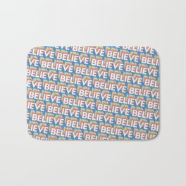 'Believe' Trendy Rainbow Text Pattern (Blue) Bath Mat