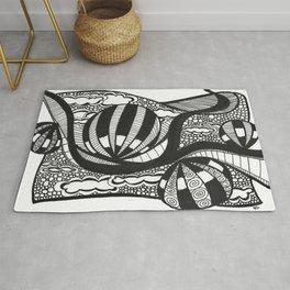 Hot Air Ballon Drawing Black and White Rug