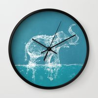 yetiland Wall Clocks featuring Elephant by Paula Belle Flores