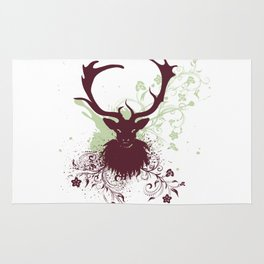 Grunge Stag with floral Rug