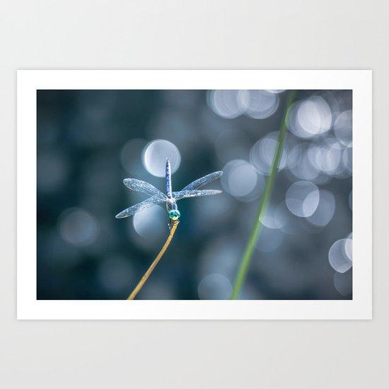 Air bokeh dragonfly Art Print