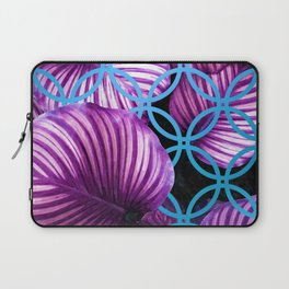 Purple Leaves Blue Geometric Laptop Sleeve