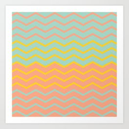 Colorful Chevron on Peach and Mint Art Print