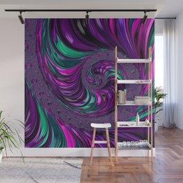 Jewel Tone Fractal Spiral Wall Mural