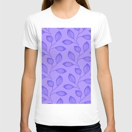 Climbing Leaves In Blue On Cold Lilac T-shirt