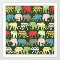 baby elephants and flamingos green Art Print