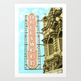 Portland Hollywood Theatre Pink Art Print