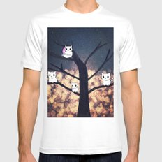 cats-454 White MEDIUM Mens Fitted Tee