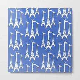 Mid Century Modern Giraffe Pattern 221 Blue Metal Print
