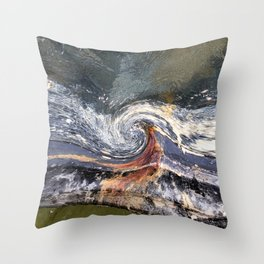 The Wave Etched in Stone Throw Pillow