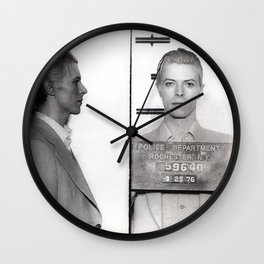 1976 Bowie Arrest Mugshot in Rochester, New York black and white photograph Wall Clock