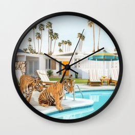 Tigers at the Pool Wall Clock
