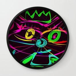 King Cat Neon Style Digital Drawing Wall Clock