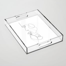 Lovers - Minimal Line Drawing Art Print 2 Acrylic Tray