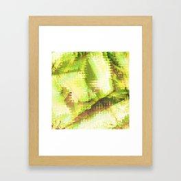 Fragmented Green Abstract Artwork Framed Art Print