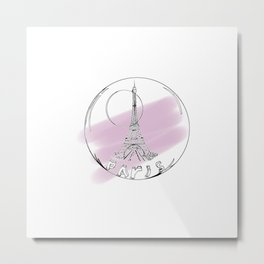 Paris city in a hot air balloon on purple background. Home decor, art prints Metal Print