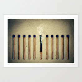 one burnt match Art Print