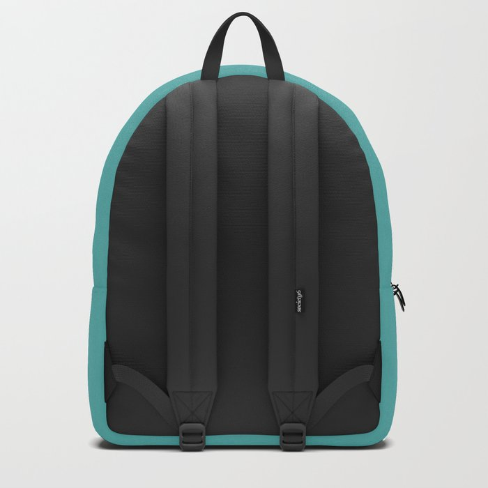 Solid Color Dark Pastel Teal Pairs to Pantone 15-5217 Blue Turquoise Backpack