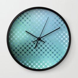 Minimalist X Pattern in Iridescent Blue 23 Wall Clock