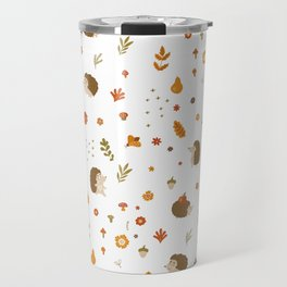 children hedgehog pattern, forest design Travel Mug