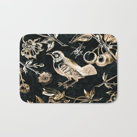 Golden set of birds, beetle, flowers and cherry fruit. Bath Mat