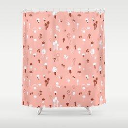 Autumn Mushrooms Pale Rose Shower Curtain