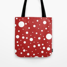 Mixed Polka Dots - White on Firebrick Red Tote Bag