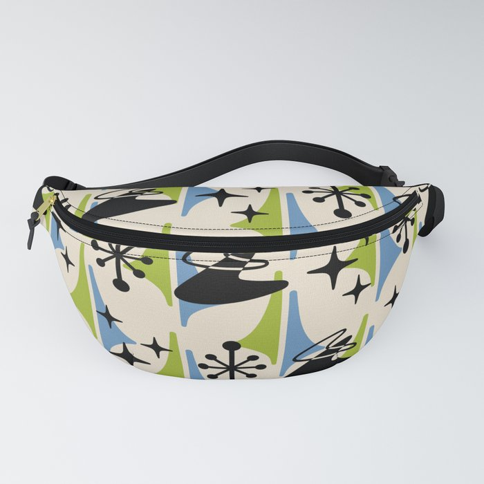 Mid Century Modern Cosmic Boomerang 726 Black Blue and Green Fanny Pack