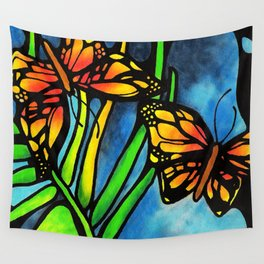 Beautiful Monarch Butterflies Fluttering Over Palm Fronds by annmariescreations Wall Tapestry