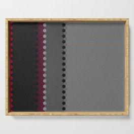 Modern Burgundy Grey Black Stripe Dot Pattern Serving Tray
