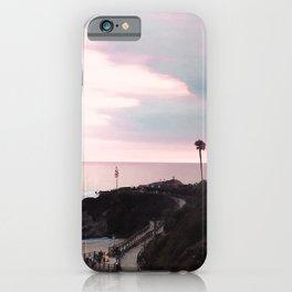 Laguna Beach | LoFi Relaxed Aesthetic Pinkish Sunset Palm Trees Hippie Ocean Horizon Waves iPhone Case