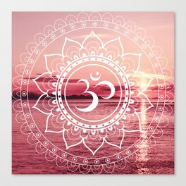 Water Om Mandala : Rose Pink Canvas Print