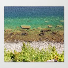 Stone shore on the lake in Canada Canvas Print