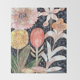Mixed Flowers with Tulip on Black Throw Blanket