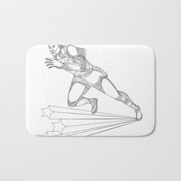 Track and Field Athlete Running Doodle Art Bath Mat
