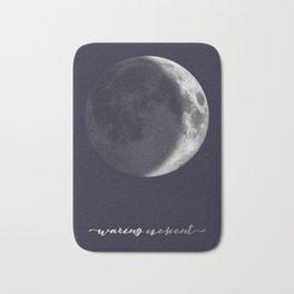 Waxing Crescent Moon on Navy - English Bath Mat