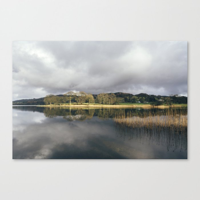 Sunlight and reflections on Esthwaite Water. Cumbria, UK. Canvas Print