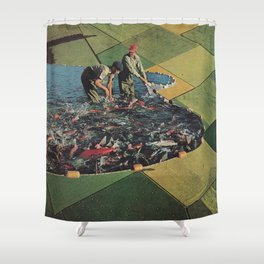 Salmon Farm Shower Curtain