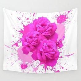 CERISE PINK ROSE PATTERN WATERCOLOR SPLATTER Wall Tapestry