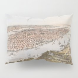 Vintage Pictorial Map of New York City (1866) Pillow Sham