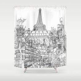 Paris! B&W Shower Curtain