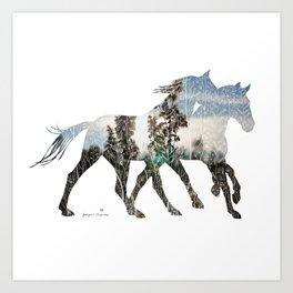 Autumn Horses Art Print